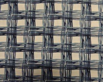Cotton blue pattern checkered fabric
