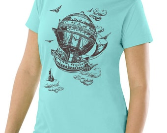 Plus Size Vintage Steampunk T-shirt, Airship, Jade plus size top, Artsy T-shirt