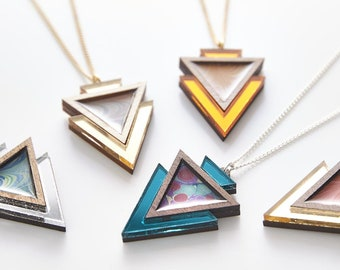 Esoteric london x paperwilds collaboration - marbled triangle necklace
