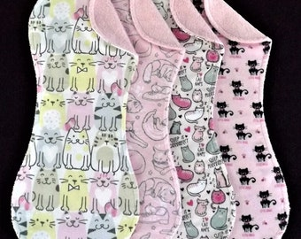 Pink Kitten Burp Cloth Set in Terry and Flannel