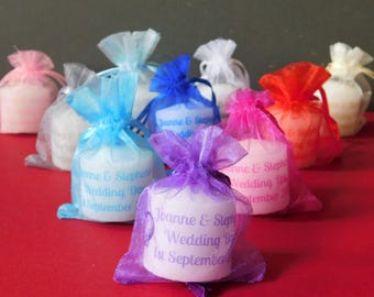 Personalised Votive  Wedding Favour Candles In Organza Bags Set of 10 with Any Image
