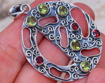 Genuine Garnet with Peridot set in Solid 925 Sterling Silver Pendant