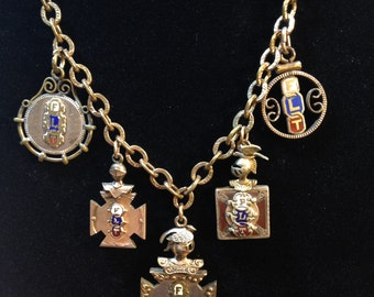 Friendship Love & Truth Necklace Antique Assemblage Gold-Filled Fraternity Fobs with Garnets