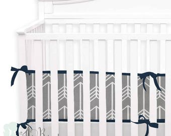 Grey Arrows 2-in-1 Crib Bumper/Rail Cover | Convertible Baby Boy Bumper Set | Crib Bumper Set