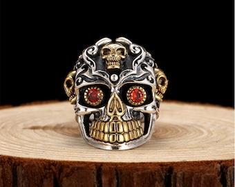 Silver Skull Ring With Red Cubic Zirconia CZ Eyes Mayan Skull Biker Ring Rocker Punk Gothic Horror Ring