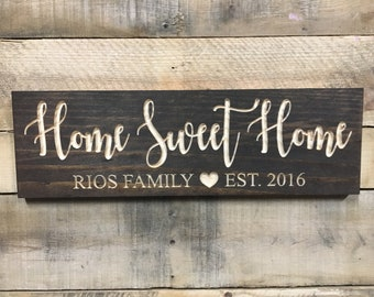 Home Sweet Home, Personalized, Housewarming Gift, Gift for her, Housewarming present, Wood Signs, Established Sign