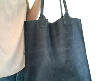 10% OFF ••• Greyish blue pull-up leather tote bag - nr. 3