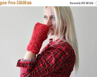 Sale red fingerless gloves / crochet fingerless gloves / knit fingerless gloves women / red knit fingerless gloves/ gift for girlfriend vale