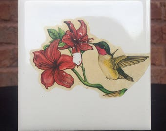 Humming Bird Tile Matchbox