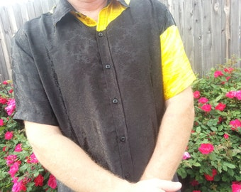 Men's Handmade Sari Silk Short Sleeve Button Down Casual Shirt - Shiny Asymmetrical Black and Yellow - Gucci H790