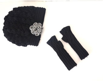 Black  Hat And  gloves Set ,  Gift Set , for woman , Winter  Wool Lace Slouch Hat and Fingerless Gloves Winter Accessories Winter Fashion
