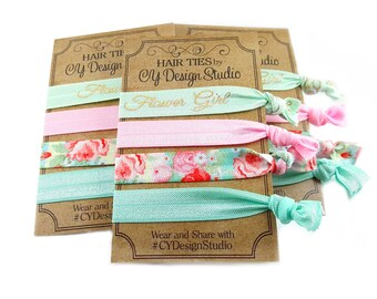 Flower Girl Hair Ties Set - Floral Hair Tie Gift Set - Gold Foil Hairties - Party Favors - Wedding Favors - Flower Girl Gifts