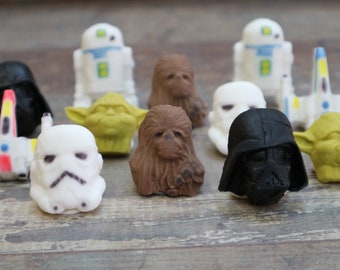 Star Wars Inspired Cupcake or Cake Toppers Vader Stormtrooper Wookie Yoda R2D2 and X-Wing style Toppers