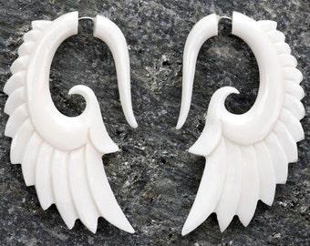 White Bone Angel Wing Spiral Organic Fake Gauges Earrings