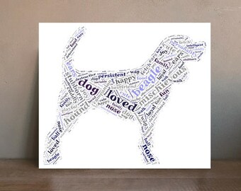 Beagle Dog Word Cloud Art Canvas Print 20 x 30cm