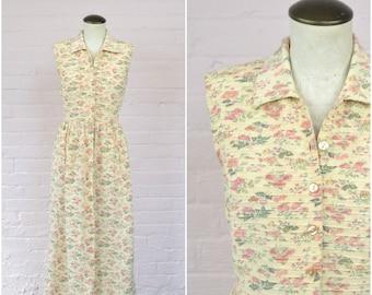 vintage 90s button front floral dress · cream maxi dress · pink flower print · cotton bohemian long dress · sleeveless collared dress · med