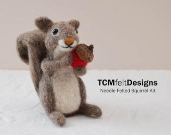 Gray Squirrel Needle Felting Kit, Intermediate/advanced Level Fiber Art Kit