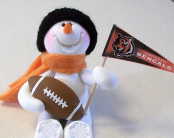 Cincinnati Bencals football snowman ornament