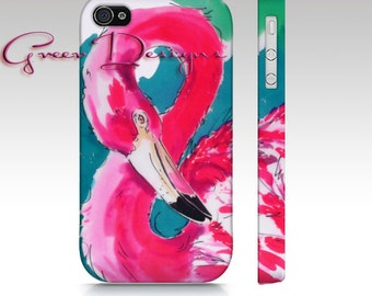 HOT Pink Flamingo Painting Phone iPhone Case cover 4 4s 5 5s Samsung Galaxy S3 s4 S5