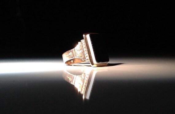 1800s 14 KT Gold Bicolor Onyx Ring Antique 585