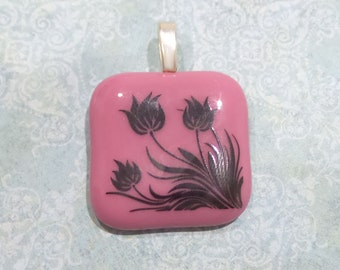 Pink Fused Glass Pendant, Flower Necklace, Tulips, Omega Slide, Ready to Ship, Pink Fused Glass Jewelry on Etsy - Macy - -5