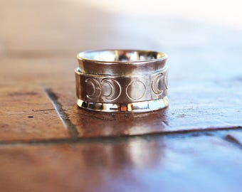 Moon phase spinner ring,Inspirational, goddess jewelry,phases of moon,wide band ring,Moon jewelry,Rotating ring, 925 sterling silver
