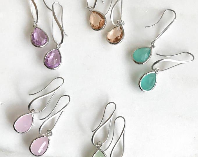 Silver Drop Earrings.  Dangle Teardrop Drop Earrings.  Gift for Her.  Dangle Earrings. Modern Drop Earrings. Christmas Gift.