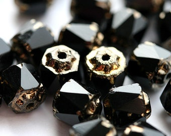 Jet Black Cathedral beads, czech glass, golden ends, round, fire polished - 6mm - 20Pc - 2678