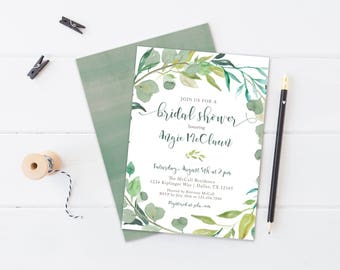 Greenery Shower Invitation, Printable, Neutral Invite, Plant, Natural, Modern, Bridal, Wedding, Fern, Simple, Watercolor Wreath
