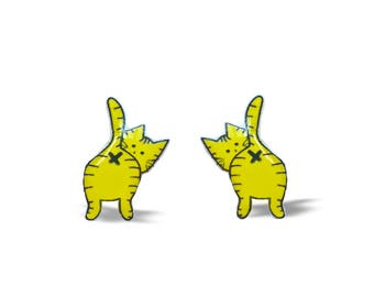 Funny Cat Earrings, Cute Cat Earrings, Funky Earrings, Pop Culture, Meh, Funny Earrings, Cat