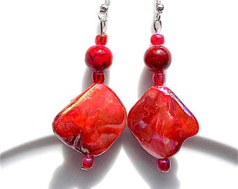 Shell dangle earrings for pierced ears, mother of pearl, reds, oranges and pinks.