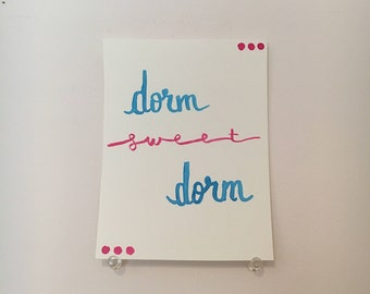 "Wall Art Decor ""Dorm Sweet Dorm"" - Dorm Wall Decor - Bedroom Decor - Cheap Gifts For Her Mom Sister Friend Aunt- Watercolor Brush Lettering"