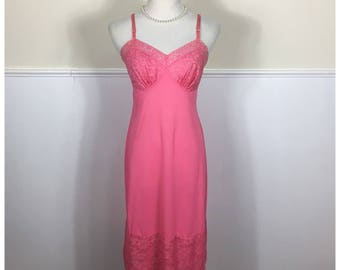 1950s Vanity Fair Bright Pink Embroidered Lace Tricot Nylon Slip, Size34-36
