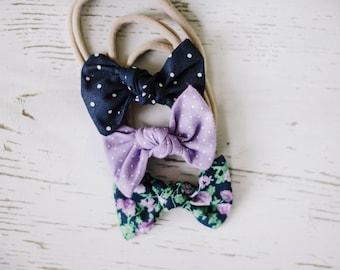 Baby Headband Set - Baby bows. Soft baby headband. Nylon headband. Hair bows. Toddler Hair Accessories. Alligator Clips. Baby hair clips