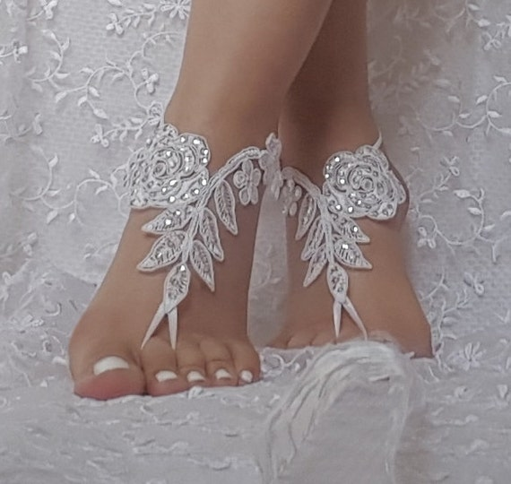 Beach wedding barefoot sandals, bangle, wedding anklet, anklet, bridal, bellydance, gothic bridal anklet, ivory lace sandals,