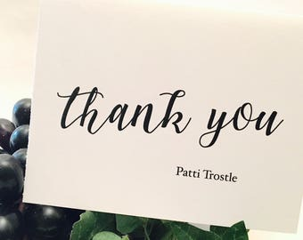 Personalized thank you note cards Wedding Thank You cards set Large Script, handmade wedding stationery, bride and groom wedding thank you c