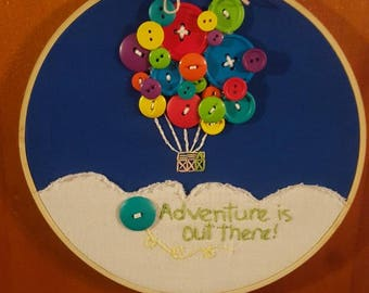 """Pixar Up -adventure is out there -hand embroidered with button balloons and a little pink house in a 8"""" wooden hoop"""