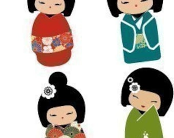 Kokeshi Dolls - Amazingly Cute - (1x1) One Inch or 25mm Pendant Images - Digital Sheet - Buy 2 Get 1 Free - Instant Download - Printable