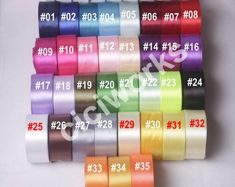 "Full 35 colors 1 roll 25yards 1.5""  38mm Signle Faced Satin Ribbon Solid Color Weddings, crafts, hair bows , Pick your colors"