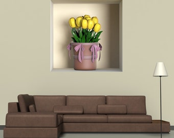Wall decals 3D illusion vase A498 - Stickers 3D illusion vase A498