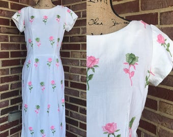 1950s 1960s cotton wiggle dress with rose floral embroidery