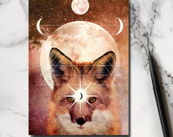 Fox Notebook - Fox Notepad - Woodland Notebook - Moon Notebook - Fox Stationery