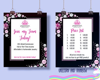 UPDATED LOGO Paparazzi Price List and Join my team card- Instant download