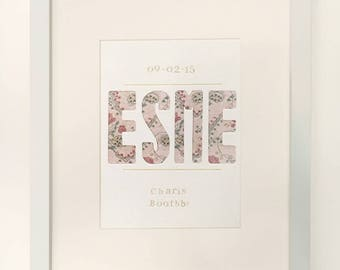 Beautiful framed baby name and birth date
