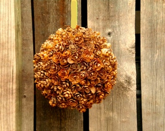 Pine Cone Hanging Ball, Hanging Pine Cone Ball Decoration, Rustic Home Decor, Holiday Decor, Kissing Ball