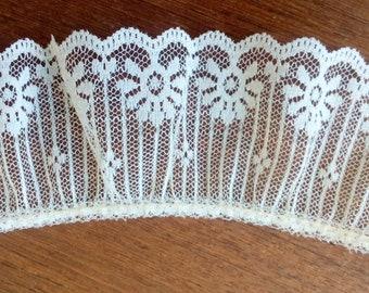 Light ecru lace, wedding lace, scalloped ecru lace