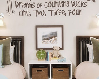 Duck Hunting Decal - Dogs and Cattails Decal - Baby Boy Wall Decal - Nursery Decal - Duck Decor - Duck Decal - Kids Room Decor