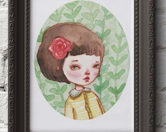 RAQUEL - A pop surrealist watercolor Danita painting. Available in signed posters and mounted wall art ready to hang prints