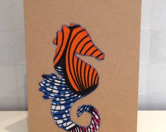Handmade All-occasion fabric Seahorse Card Recycled Kraft Card