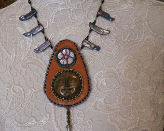 hippie leather moon wicca, witch godess leather boho gypsy necklace